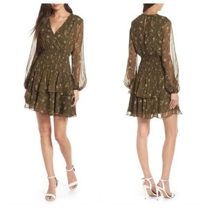 BARDOT Olive Ditsy Shirred Waist Dress